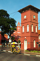 Melaka Clocktower - This clock tower outside the Stadthuys was given to the people of Malacca in 1886 by Tan Jiak Kim to fulfil the wishes of his fatherTan Beng Swee,  a third generation of a Chinese philantrophic millionaire family. Tan Beng Swee, was the son of Tan Kim Seng who donated both the bridge adjacent to the clocktower and land for the Chinese cemetery. The original clock was imported from England.