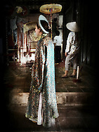 Tourist wears traditional outfit in Tu Duc Tomb, Hue, Vietnam, Southeast Asia