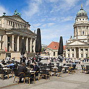 The Gendarmenmarkt square in Berlin, Germany, featuring the Konzerhaus and the French Cathedral.