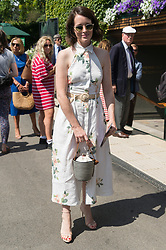 © Licensed to London News Pictures. 11/07/2019. London, UK. Actress Claire Foy arrives for the ladies quarter finals singles draw of the Wimbledon Tennis Championships 2019 on Day 10 held at the All England Lawn Tennis and Croquet Club. Photo credit: Ray Tang/LNP