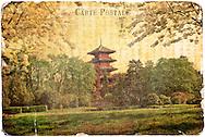 Japanese Tower, Laeken, Belgium- Forgotten Postcard digital art collage