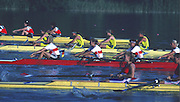 Banyoles, SPAIN, German Women's FOUR. GER W4-   BRONZE Medalist. Antje FRANK, Annette HOHN, Gabriele MEHL, Birte SIECH. 1992 Olympic Regatta, Lake Banyoles, Barcelona, SPAIN.    [Mandatory Credit: Peter Spurrier: Intersport Images]