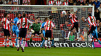 Photo: Alan Crowhurst.<br />Southampton v Coventry City. Coca Cola Championship. 09/08/2006. Bradley Wright-Phillips of Saints (R) gets a clean header on goal only to be cleared off the line.