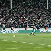 Bursaspor's Volkan Sen (2ndR) scores during the Turkish soccer super league match Bursaspor between Fenerbahce at the Ataturk Stadium in Bursa Turkey on Monday, 24 November 2014. Photo by Aykut AKICI/TURKPIX