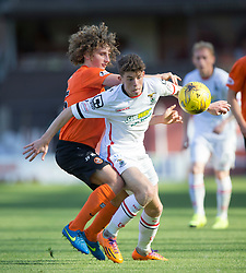 Dundee United's Aaron Kuhl and Inverness Caledonian Thistle's Miles Storey.<br /> Half time : Dundee United 1 v 0 Inverness Caledonian Thistle, SPFL Ladbrokes Premiership game played 19/9/2015 at Tannadice.