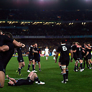 New Zealand players celebrate as the final whistle sounds giving New Zealand an 8-7 victory over France in the Final of the IRB Rugby World Cup tournament, Eden Park, Auckland, New Zealand. 23rd October 2011. Photo Tim Clayton...