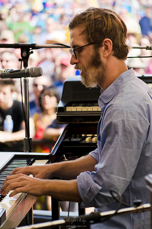 Tay Strathairn on keyboards with Dawes at the 2012 Appel Farm Arts & Music Festival.