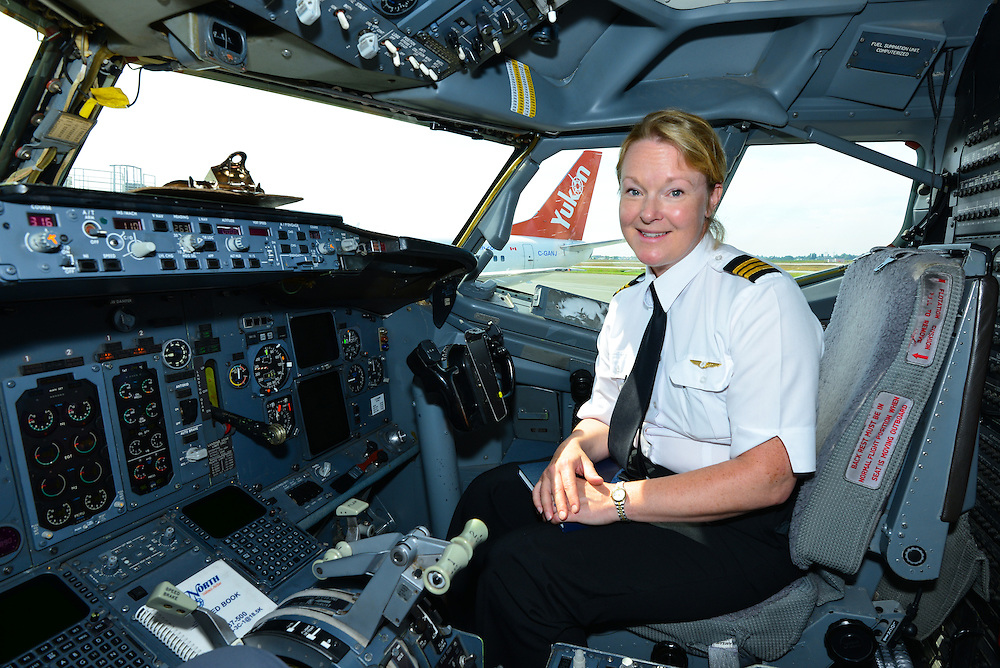 The First Officer completing flight checks prior to departure