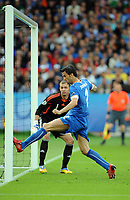 Christian Panucci Scores Equaliser past Romania's Bogdan Lobont<br /> Italy Euro 2008<br /> Italy V Romania (1-1) Group C 13/06/08<br /> UEFA European Championships 2008<br /> Photo Robin Parker Fotosports International
