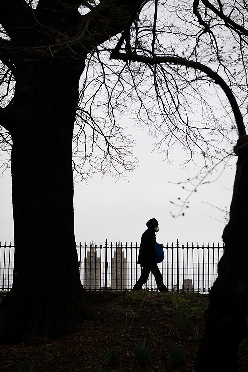 New York City, USA - March 19, 2020: A person wearing a face mask during the coronavirus outbreak in New York City walks beside the Central Park reservoir.