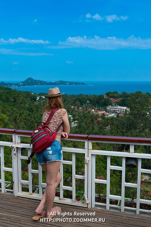 Girl standing on observation deck Lamai point in Samui island, Thailand