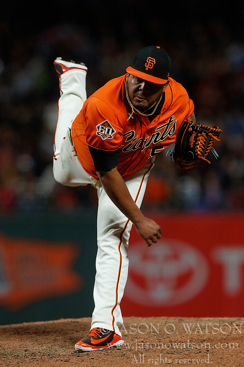 SAN FRANCISCO, CA - JULY 06: Reyes Moronta #54 of the San Francisco Giants pitches against the St. Louis Cardinals during the seventh inning at AT&T Park on July 6, 2018 in San Francisco, California. The San Francisco Giants defeated the St. Louis Cardinals 3-2. (Photo by Jason O. Watson/Getty Images) *** Local Caption *** Reyes Moronta