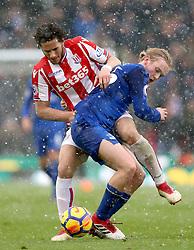Stoke City's Ramadan Sobhi (left) and Everton's Tom Davies battle for the ball