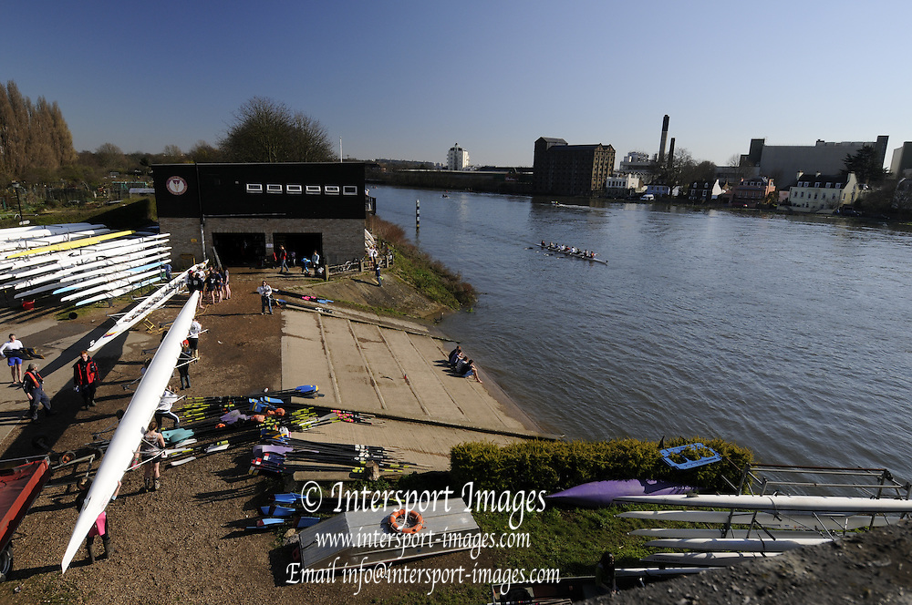 Chiswick. London.  General Views, Tideway Scullers Boat house Chiswick. 2011 Women's Head of the River Race, Mortlake to Putney, over the  Championship Course.Taken from Chiswick Bridge.  Saturday  19/03/2011 [Mandatory Credit, Peter Spurrier/Intersport-images]