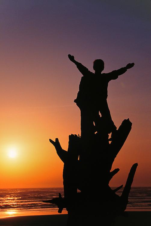 North America, United States, Washington, Olympic National Park, children on giant driftwood at sunset