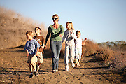 Mother & Children Hiking