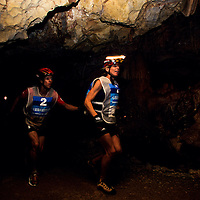 Paula Newby-Fraser and teammates in cave, 1999 Mild Seven Outdoor Quest Adventure Race, Lijiang, China