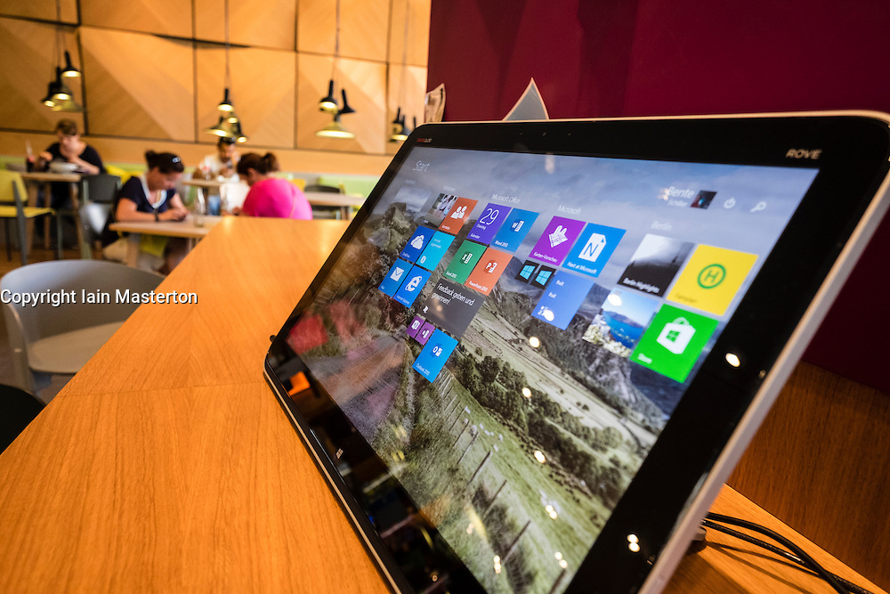 large touchscreen computer for customers at new Microsoft Digital Eatery cafe on Unter den Linden in Berlin Germany