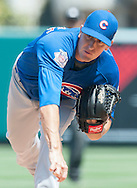 Cubs starter Kyle Hendricks pitches against the Angels during their preseason game at Angel Stadium Sunday.<br /> <br /> <br /> ///ADDITIONAL INFO:   <br /> <br /> angels.0404.kjs  ---  Photo by KEVIN SULLIVAN / Orange County Register  --  4/3/16<br /> <br /> The Los Angeles Angels take on the Chicago Cubs at Angel Stadium during a preseason game at Angel Stadium Sunday.<br /> <br /> <br />  4/3/16