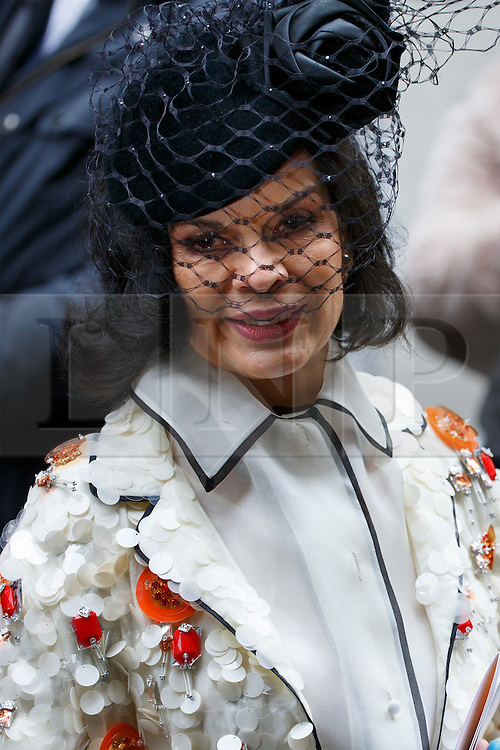 © Licensed to London News Pictures. 05/03/2016. London, UK. BIANCA JAGGER leaving Rupert Murdoch and Jerry Hall's wedding ceremony at St Bride's Church in Fleet Street, London on Saturday, 5 March 2016. Photo credit: Tolga Akmen/LNP