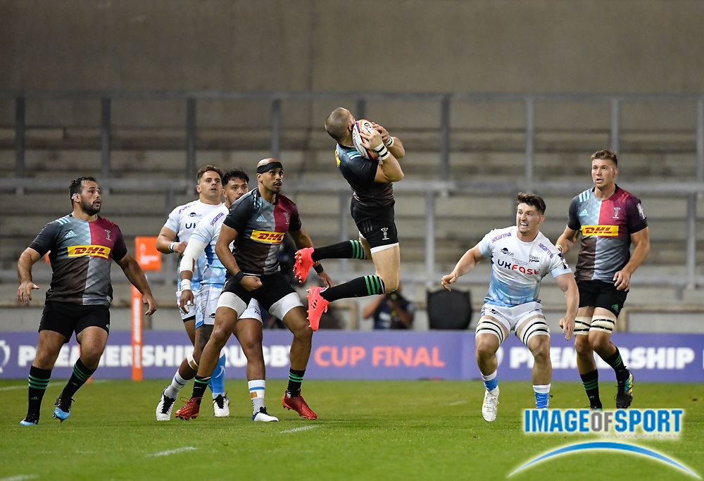 Harlequins full-back Mike Brown catches a high ball during The Premiership Rugby Cup Final at The AJ Bell Stadium, Eccles, Greater Manchester, United Kingdom, Monday, September 21, 2020. (Steve Flynn/Image of Sport)