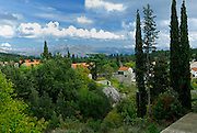 Elevated view across village of Zrnovo and surrounds, island of Korcula, Croatia