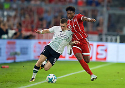 MUNICH, GERMANY - Tuesday, August 1, 2017: Liverpool's Ryan Kent and Bayern Munich's David Alaba during the Audi Cup 2017 match between FC Bayern Munich and Liverpool FC at the Allianz Arena. (Pic by David Rawcliffe/Propaganda)