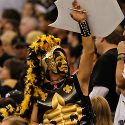 December 4, 2011; New Orleans, LA, USA; A New Orleans Saints fan in the stands during the second half of a game against the Detroit Lions at the Mercedes-Benz Superdome. The Saints defeated the Lions 31-17. Mandatory Credit: Derick E. Hingle-US PRESSWIRE