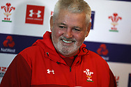 Warren Gatland, the Wales rugby team head coach speaks to the press as he announces his team to play against Ireland. Wales rugby team announcement press conference at the Vale Resort Hotel in Hensol, near Cardiff , South Wales on Tuesday 20th February 2018.  the team are preparing for their next NatWest 6 Nations 2018 championship match against Ireland this weekend.   pic by Andrew Orchard