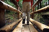 A hiker walks across a bridge in Mount Hood National Forest, Oregon.