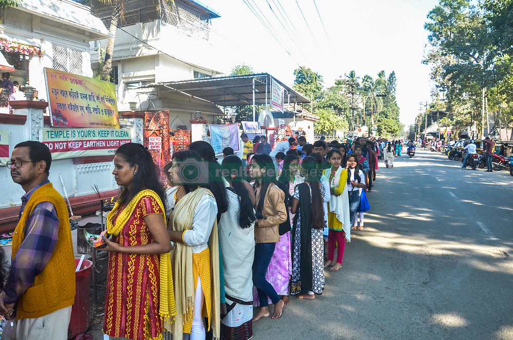 January 1, 2018 - Guwahati, Assam, India - Devotees throng at Ganesh temple on the first day of new year. (Credit Image: © David Talukdar/Pacific Press via ZUMA Wire)