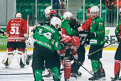 BOHINC Martin of HDD Olimpija vs Urban Avsenik of HDD Jesenice during 500th derbi between HK SZ Olimpija Ljubljana vs HDD SIJ Acroni Jesenice  - AHL 2019/20, on the 26th of  Oktober, Ljubljana, Slovenia. Photo by Matic Ritonja / Sportida