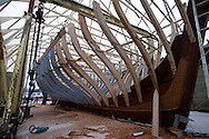 """Pictures of yachtsman Pete Goss working on his new wooden yacht """"Spirit of Mystery"""". A Cornish Lugger being built in the traditional way. Pete and Chris have used locally felled and milled green oak, with the build due to finish in late June 2008..Pete is due recreate the 1854 voyage when 7 men  sailed from Newlyn, Cornwall to Australia.....All pictures must be credited Lloyd Images...For further info and details please contact :.www.petegoss.com or Stuart Elford at Formedia.T: +44 7796957677.E: stuart.elford@formedia.co.uk"""