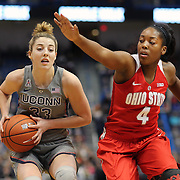 HARTFORD, CONNECTICUT- DECEMBER 19: Katie Lou Samuelson #33 of the Connecticut Huskies drives past Sierra Calhoun #4 of the Ohio State Buckeyes during the UConn Huskies Vs Ohio State Buckeyes, NCAA Women's Basketball game on December 19th, 2016 at the XL Center, Hartford, Connecticut (Photo by Tim Clayton/Corbis via Getty Images)