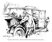 """The Lady (to voluble casualty). """"One would think you had never been run over before."""""""