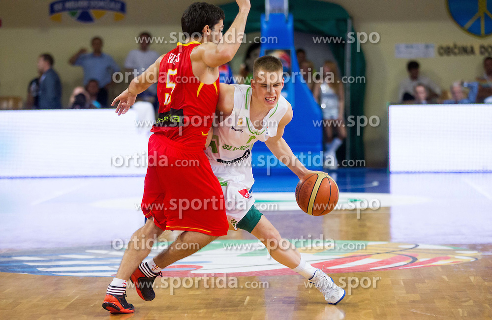 Jose Pozas of Spain vs Klemen Prepelic of Slovenia during basketball match between National teams of Slovenia and Spain in Qualifying Round of U20 Men European Championship Slovenia 2012, on July 18, 2012 in Domzale, Slovenia. Slovenia defeated Spain 70-63. (Photo by Vid Ponikvar / Sportida.com)