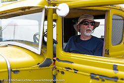 Paul Kramer in his hotrod on setup day for TROG (The Race Of Gentlemen) in Wildwood, NJ. USA. Friday June 8, 2018. Photography ©2018 Michael Lichter.