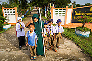 11 JULY 2013 - PATTANI, PATTANI, THAILAND:   Students at the Bantaladnadklongkud School in Pattani. There are 108 students at Bantaladnadklongkud School and they are all Muslims. Five of the school's eight teachers are Buddhists.    PHOTO BY JACK KURTZ