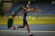 Rio De Janeiro _ RJ, 14 Agosto de 2007..Atletas disputam atletismo nos jogos parapan 2007.Na foto o brasileiro,Yohansson Ferreira(72),medalha de ouro,nos 100 m - T46...FOTO:MARCUS DESIMONI / AGENCIA NITRO...