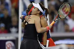 BEIJING, Oct. 2, 2018  Wang Qiang (R) of China and Jelena Ostapenko of Latvia hug each other after their women's singles second round match at China Open tennis tournament in Beijing, China, Oct. 2, 2018. Wang Qiang won 2-0. (Credit Image: © Jia Haocheng/Xinhua via ZUMA Wire)
