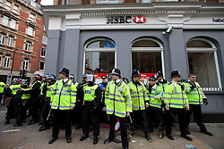 "© under license to London News Pictures. 25/03/2011: Anticuts protesters attack a branch of HSBC on Shaftsbury Avenue in London. Credit should read ""Joel Goodman/London News Pictures""."