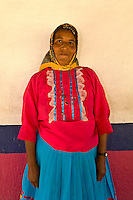 A Tarahumara Indian woman wearing her colorful native costume, Ejido San Alonso (near San Rafael), Copper Canyon, Mexico