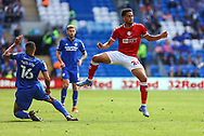 Bristol City's Zak Vyner (26) is tackled by Cardiff City defender Curtis Nelson (16) during the EFL Sky Bet Championship match between Cardiff City and Bristol City at the Cardiff City Stadium, Cardiff, Wales on 28 August 2021.