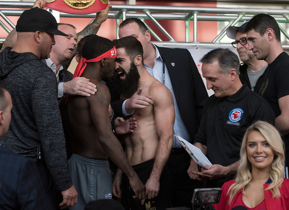 at the Weigh In for Matchroom Boxing in Philadelphia, March 14, 2019. <br /> <br /> Jack Megaw. All Rights Reserved.