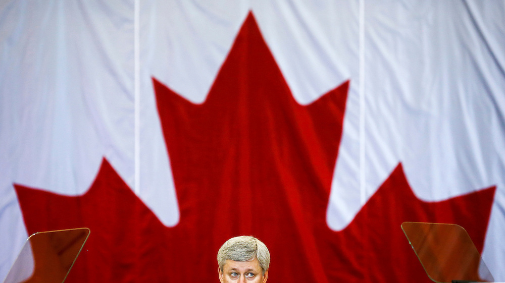 Canadian Prime Minister Stephen Harper speaks at a news conference in Richmond Hill, Ontario, January 30, 2015. Canada's main spy agency, the Canadian Security Intelligence Service (CSIS), will get new powers aimed at disrupting potential terror attacks under security legislation unveiled on Friday.