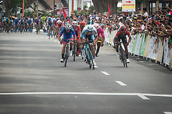 BANYUWANGI, Jan. 27, 2018  Cyclists sprint to finish in stage 3 of the Tour de Indonesia 2018 in East Java Province, Indonesia, on Jan. 27, 2018. (Credit Image: © Veri Sanovri/Xinhua via ZUMA Wire)