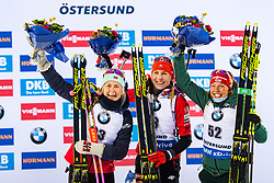 March 8, 2019 - –Stersund, Sweden - 190308 Ingrid Landmark Tandrevold of Norway, Anastasiya Kuzmina of Slovakia and Laura Dahlmeier of Germany celebrates at the podium after the Women's 7.5 KM sprint during the IBU World Championships Biathlon on March 8, 2019 in Östersund..Photo: Petter Arvidson / BILDBYRÃ…N / kod PA / 92247 (Credit Image: © Petter Arvidson/Bildbyran via ZUMA Press)
