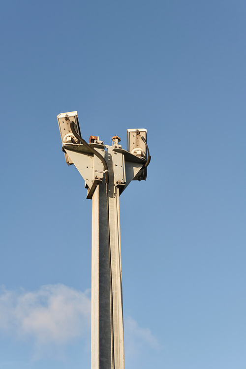 Two CCTV camera's at the top of a high post monitor the level crossing on Cordy's Lane in Timley St Mary.<br /> <br /> Photo by Jonathan J Fussell, COPYRIGHT 2020