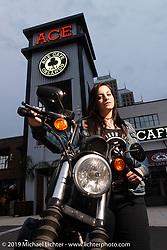 Iron Lilly Sabrina Sabin at the Ace Cafe during Daytona Bike Week. Orlando, FL. USA. Saturday March 10, 2018. Photography ©2018 Michael Lichter.