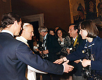 British photographer Jayne Fincher seen meeting Pope John Paul and the Prince of Wales at the Vatican, Rome, Italy in 1985 during an official visit.